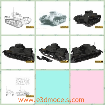 3d model the tank of German - This is a 3d model of the tank of German,which is black and large.The model is used by Nazi army.