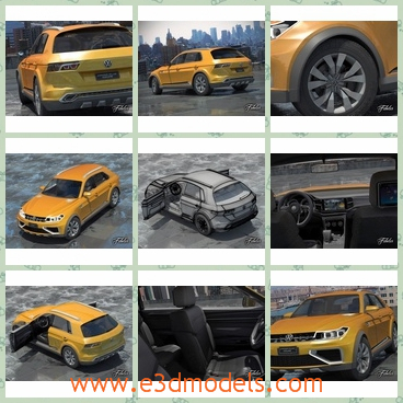 3d model the the car of Volkswagen - This is a 3d model of the car of Volkswagen,whihc is painted in yellow and the shape is cute and stable.