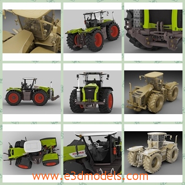 3d model the tractor in the farm - This is a 3d model of the tractor,which is practical and useful in the agriculture.The model can be easily changed or applied to other materials- animated cabine rotation.