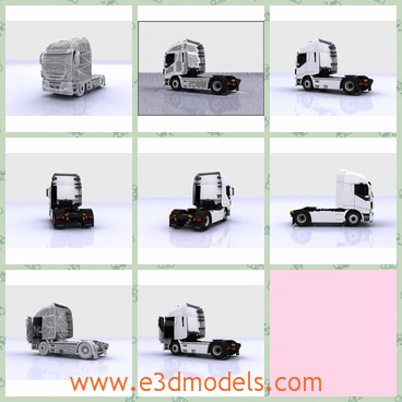 3d model the truck in white - This is a 3d model of the truck in white,which is large and heavy.The model is used to deliver goods.