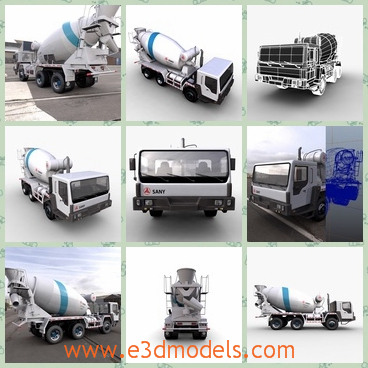 3d model the truck with a blender - This is a 3d model of the truck with a blender,which is large.The model has cement in it and the it is in the general use.