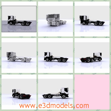 3d model the truck with a small head - This is a 3d model of the truck with a small head,which is long and heavy.The truck is made in Italy by a famous creator.