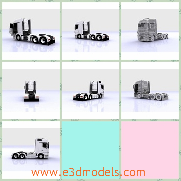 3d model the truck with six tires - This is a 3d model of the truck,which is a heavy duty truck introduced by Mercedes-Benz in 1995. It is normally used for long-distance haulage, heavy duty distribution haulage and construction haulage.
