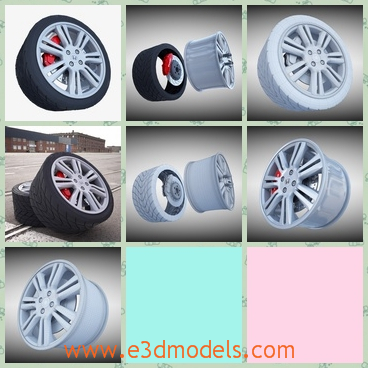 3d model the wheel in black - This is a 3d model about the wheel in black,which is the importand part of the car and the brake is useful and practical.