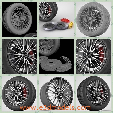 3d model the wheel of racing car - This is a 3d model of the wheel of racing cars,whih is modern and popular.