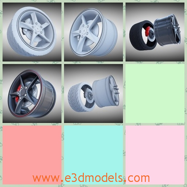 3d model the wheel of the car - This is a 3d model of the wheel of the car,which is stable and made with high quality.The rim is special compared to others.