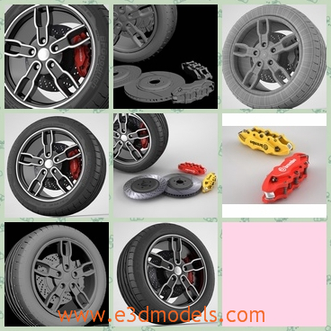 3d model the wheels - This is a 3d model of the wheels,which are made of alloy materials.The tire is flexible and stable.