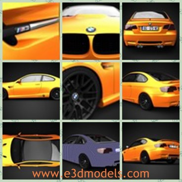 3d model the yellow BMW - This is a 3d model of the yellow BMW,which  is a high quality 3D model of 2010 BMW M3 GTS.