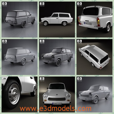 3d model wagon made in German - This is a 3d model of the wagon made in German,which is spacious and large.The model is white and popular.