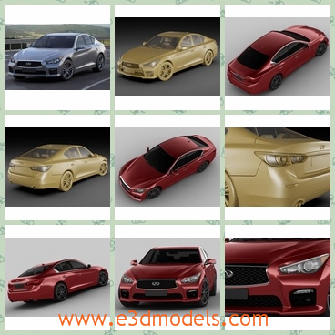 3d models of cars - These 3d models are about several Infinite Q50 S cars. These cars have a low roof and a long body and the bonnet is relatively small.