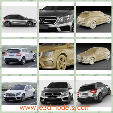 3d models of Mercedes GLA AMG package - These are 3d models which are about several Mercedes cars. These cars have the same shape but different colors. One car has a white surface and black wheels.