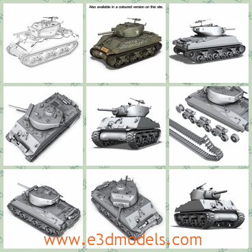 3d models of Sherman Assault tank - This 3d model shows us a Sherman Assault tank which is a big tank made of iron. Intended for the assault to break out of the Normandy beachhead, it entered combat in August 1944.