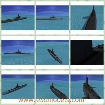 3d model the ship in the ocean - This is a 3d model of the ship or the submarine in the ocean,which  served in WWII after 1942 and were successful in combat. The earlier boats were powered by 2 diesel engines and four electric motors.