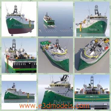 3d model the vessel with the sharp head - This is a 3d model of the vessel with the sharp head,which is green and outstanding int he ocean.The ship is made for the commercial useage.