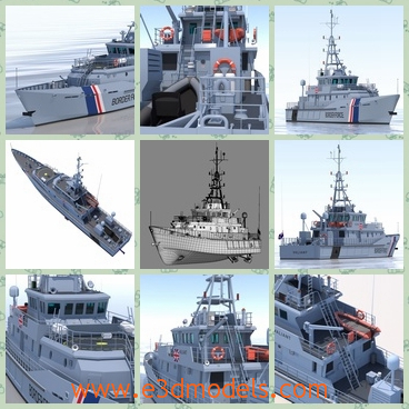 3d model the white large ship - This is a 3d model of a white large ship,which is a vessel of military.The body is marvellous and glorious and the appearance of the ship is outstanding in the sea.