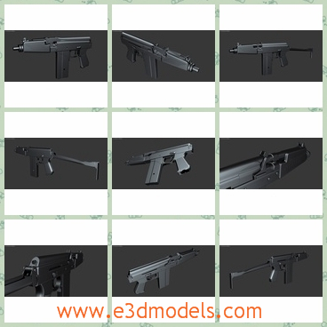 3d model of 9A91 submachine gun - There is a 3d model which is about a 9A91 submachine gun. This gun has a smooth black surface and it is made of fine steel.