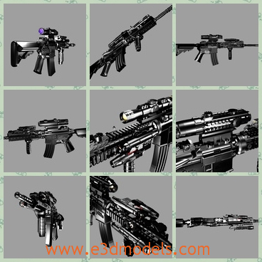 3d model of a black gun - This 3d model is about a long machinegun which is made of steel and painted black. It has a long and thin barrel and a small lense.