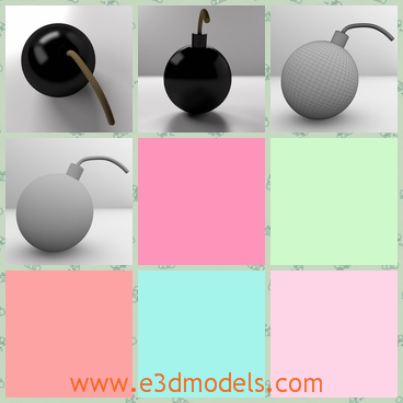 3d model of a bomb - Here we see a 3d model about a black bomb. This bomb has glisten black surface.This model is great for close up render.
