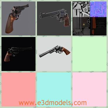 3d model of magnum revolver - This 3d model is about the first and most famous 44 Magnum Revolver.It has been featured in many cult movies like Dirty Harry and Taxi Driver and it is one of the most appreciated game revolvers.