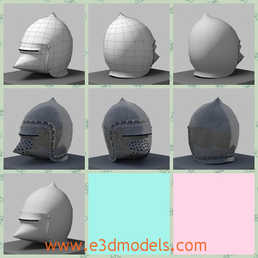 3d model of pig-faced helmet - This is a 3d model of a pig-faced helmet and this model is issued and rendered in blender internal engine in polygonal form. This helmet is big and it has a sharp nose.