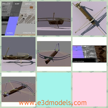 3d model the assault bow with the arrow - This is a 3d model of the bow with the arrow around.The model is in the mediveal type and is adapted for realtime in games.