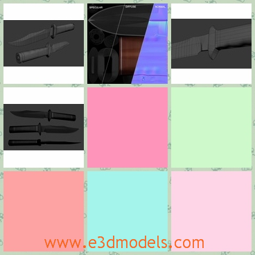 3d model the bowie knife - This is a 3d model of a Bowie knife,which is in grey and the wooden handel seems to easy to break.