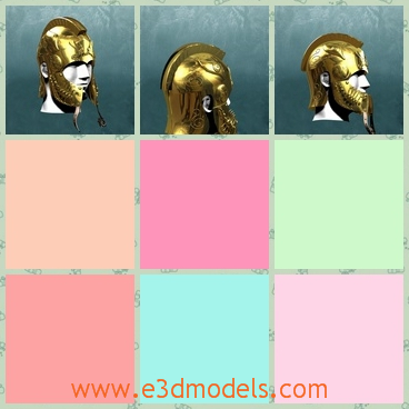 3d model the golden helmet - This is a 3d model of the golden helmet,which is the ancient style and the man who wears it is a Greece soldier.