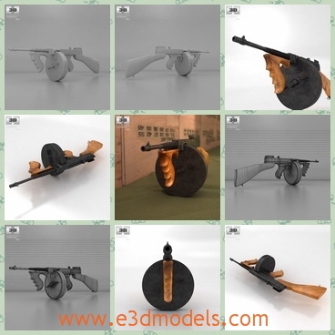 3d model the gun with a round base - This is a 3d model of the gun with a round base,which is large and dangerous.The gun is long and not easy to carry.