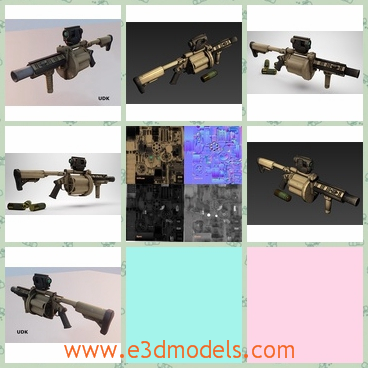 3d model the launcher - This is a 3d model of the launcher with a rifle.The white studio setting renders are done in iRay. Wireframe shots are max viewports.