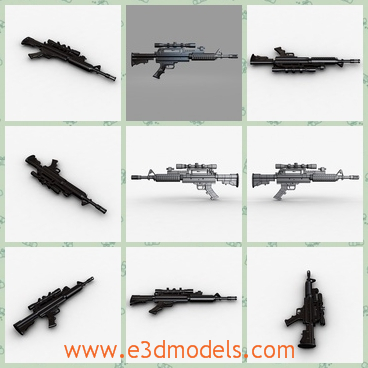 3d model the machine gun in black - This is a 3d model of the machine gun in black,which has standarded materials.The model exists in military.