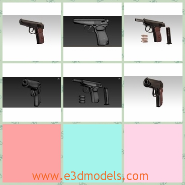 3d model the pistol of Russia - This is a 3d model of the pistol of Russia,which is black and dangerous.The gun resulted from a design competition for replacing the Tokarev TT-33 semi-automatic pistol