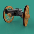3d model a field gun with two wheels